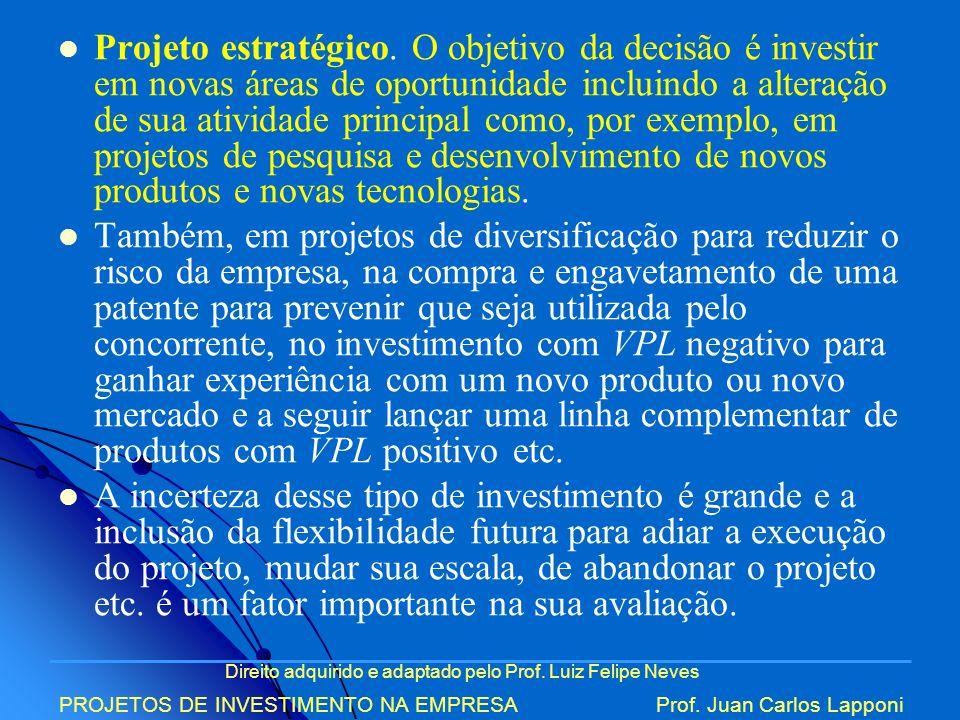 Projeto estratégico. O objetivo da decisão é investir em novas áreas de oportunidade incluindo a alteração de sua atividade principal como, por exemplo, em projetos de pesquisa e desenvolvimento de novos produtos e novas tecnologias.