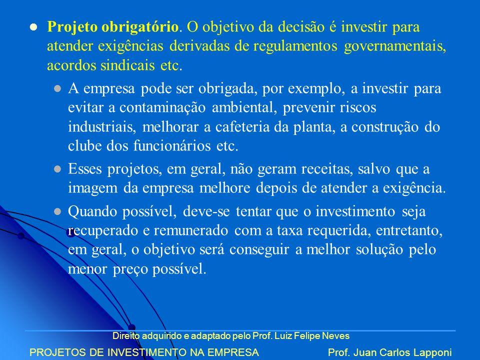 Projeto obrigatório. O objetivo da decisão é investir para atender exigências derivadas de regulamentos governamentais, acordos sindicais etc.