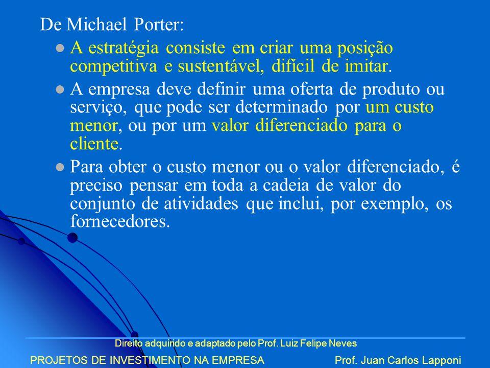 De Michael Porter: A estratégia consiste em criar uma posição competitiva e sustentável, difícil de imitar.