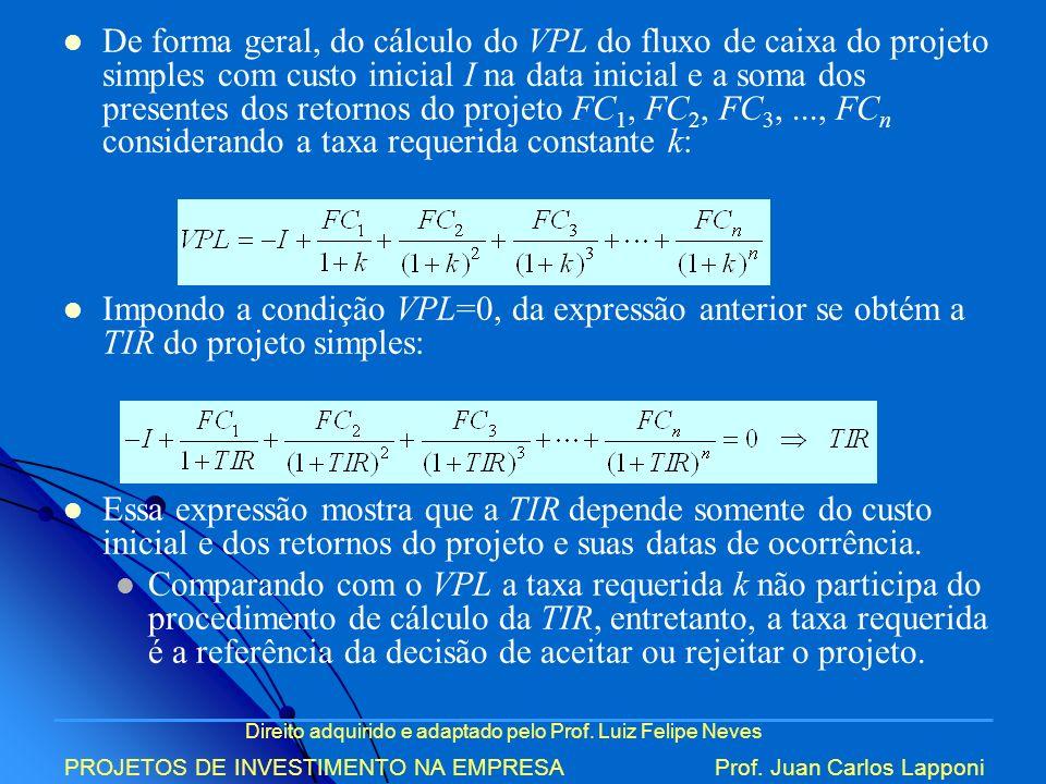 De forma geral, do cálculo do VPL do fluxo de caixa do projeto simples com custo inicial I na data inicial e a soma dos presentes dos retornos do projeto FC1, FC2, FC3, ..., FCn considerando a taxa requerida constante k: