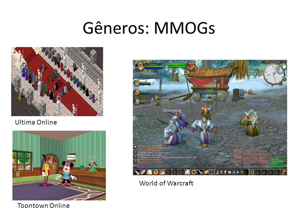 Gêneros: MMOGs Ultima Online World of Warcraft Toontown Online
