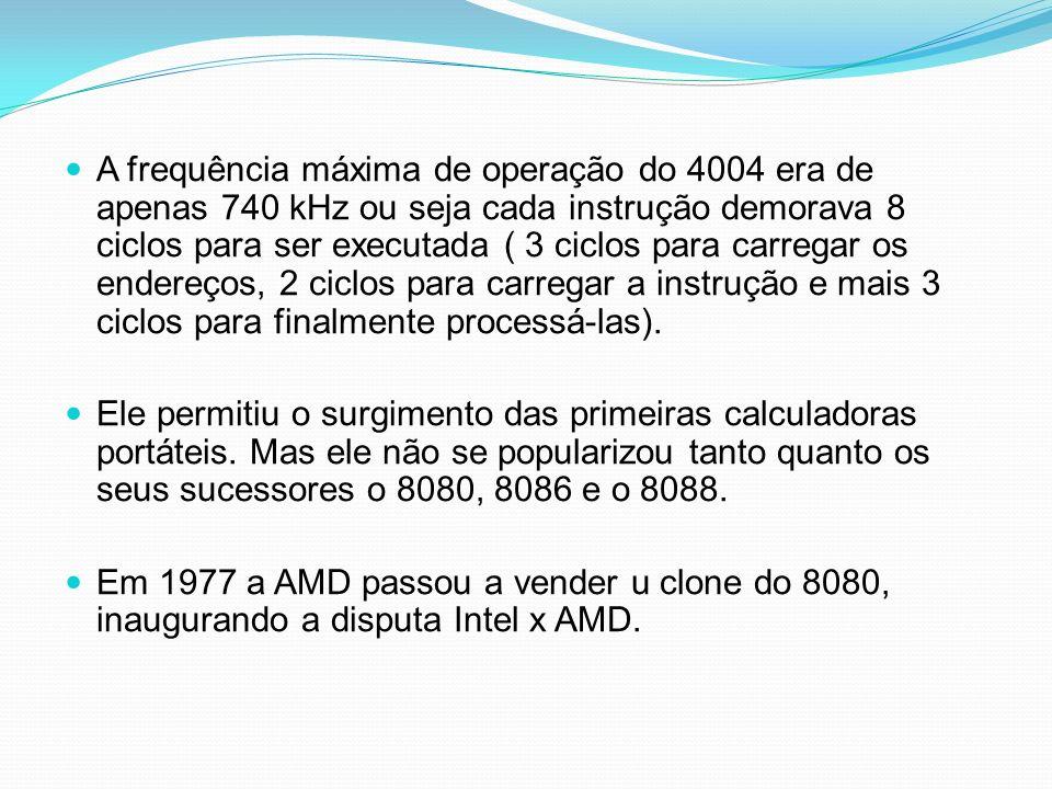 A frequência máxima de operação do 4004 era de apenas 740 kHz ou seja cada instrução demorava 8 ciclos para ser executada ( 3 ciclos para carregar os endereços, 2 ciclos para carregar a instrução e mais 3 ciclos para finalmente processá-las).