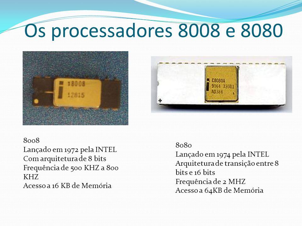 Os processadores 8008 e 8080 8008 Lançado em 1972 pela INTEL