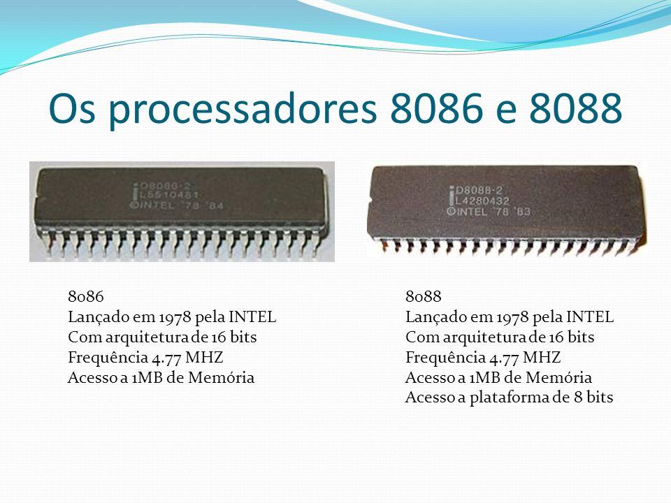 Os processadores 8086 e 8088 8086 Lançado em 1978 pela INTEL