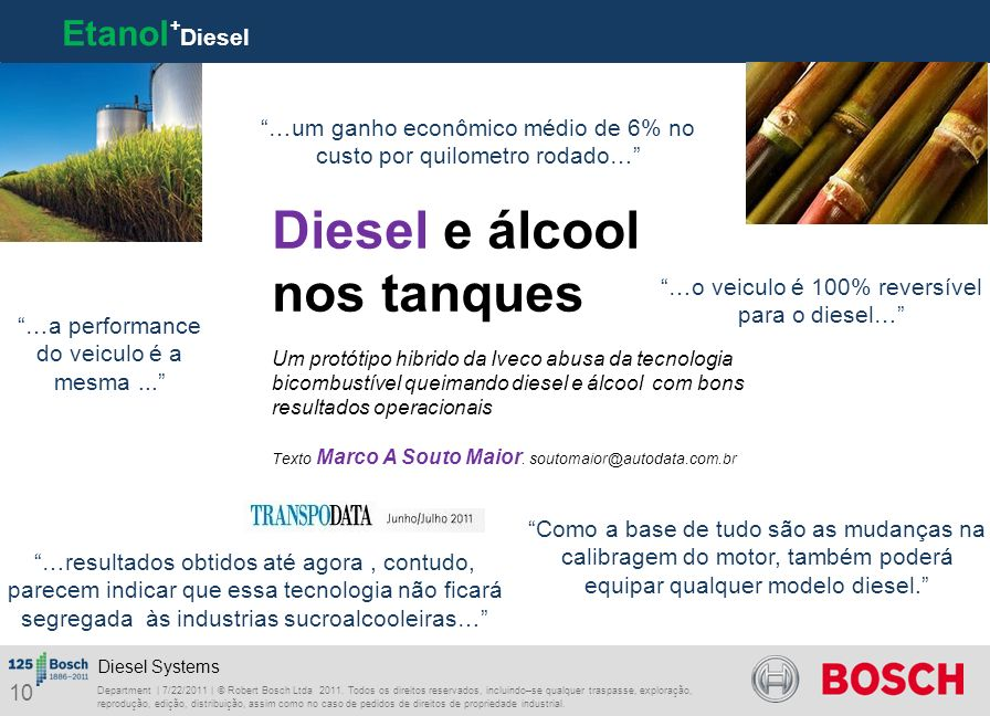 Diesel e álcool nos tanques Etanol+Diesel