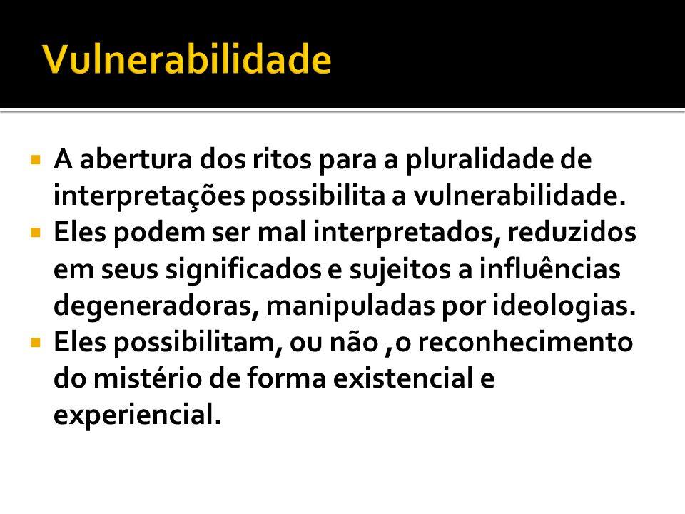 Vulnerabilidade A abertura dos ritos para a pluralidade de interpretações possibilita a vulnerabilidade.