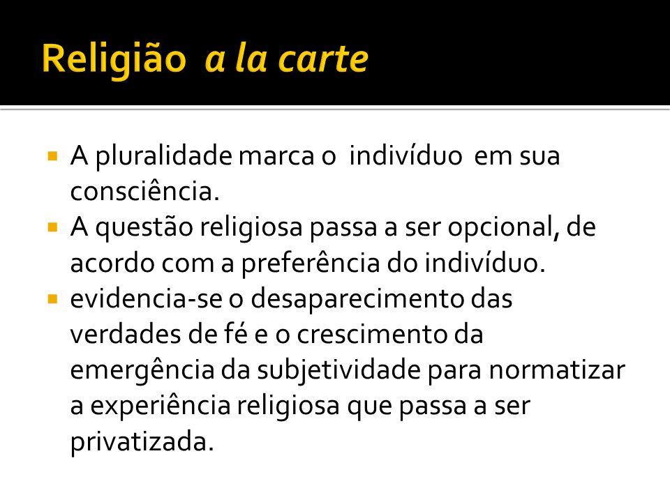 Religião a la carte A pluralidade marca o indivíduo em sua consciência.