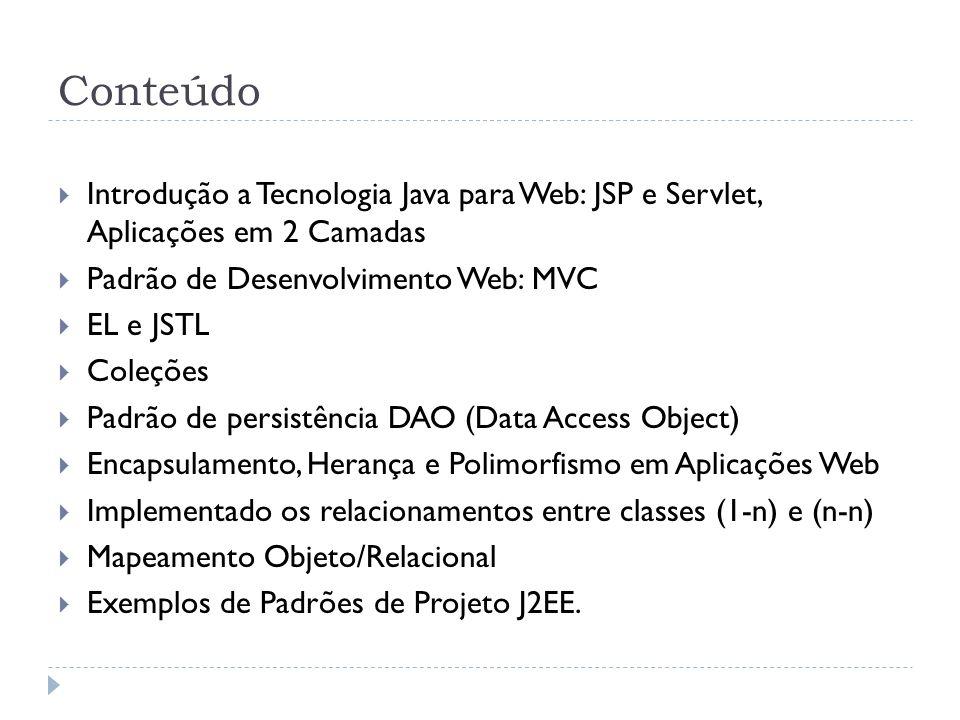 Conteúdo Introdução a Tecnologia Java para Web: JSP e Servlet, Aplicações em 2 Camadas. Padrão de Desenvolvimento Web: MVC.