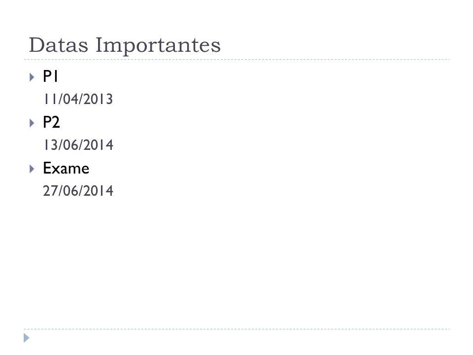 Datas Importantes P1 11/04/2013 P2 13/06/2014 Exame 27/06/2014