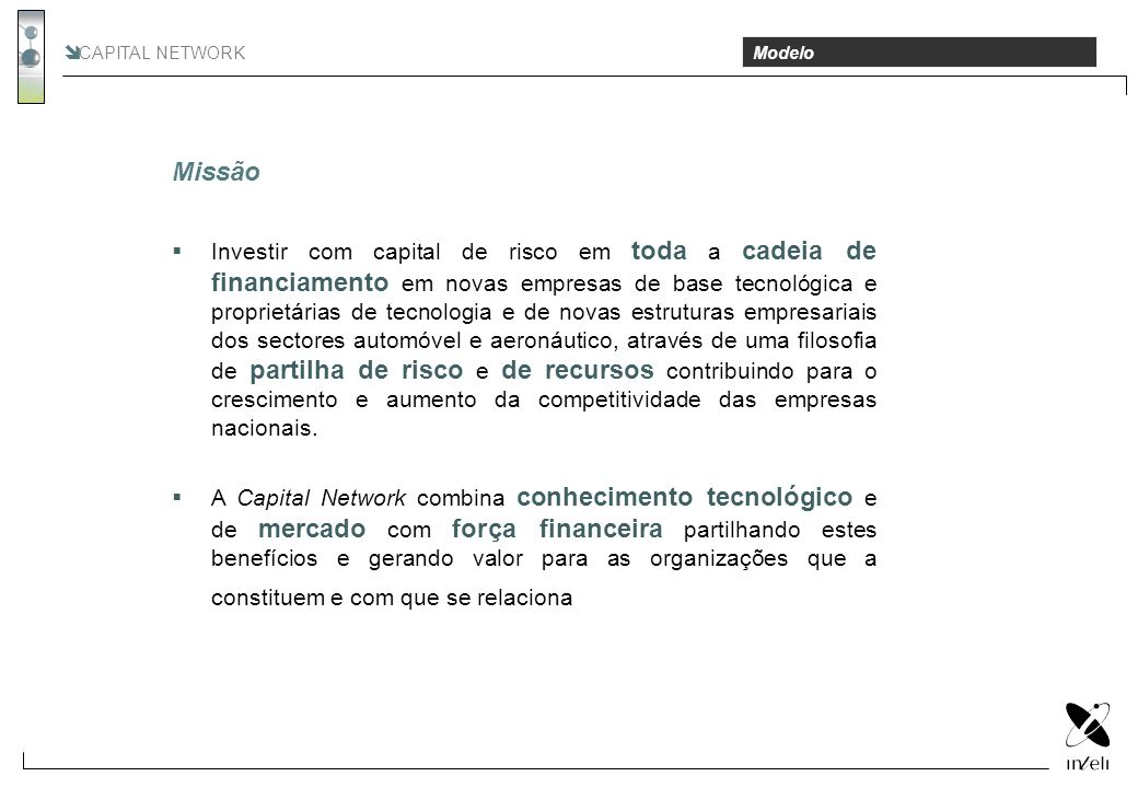 CAPITAL NETWORK Missão. Modelo. Missão.