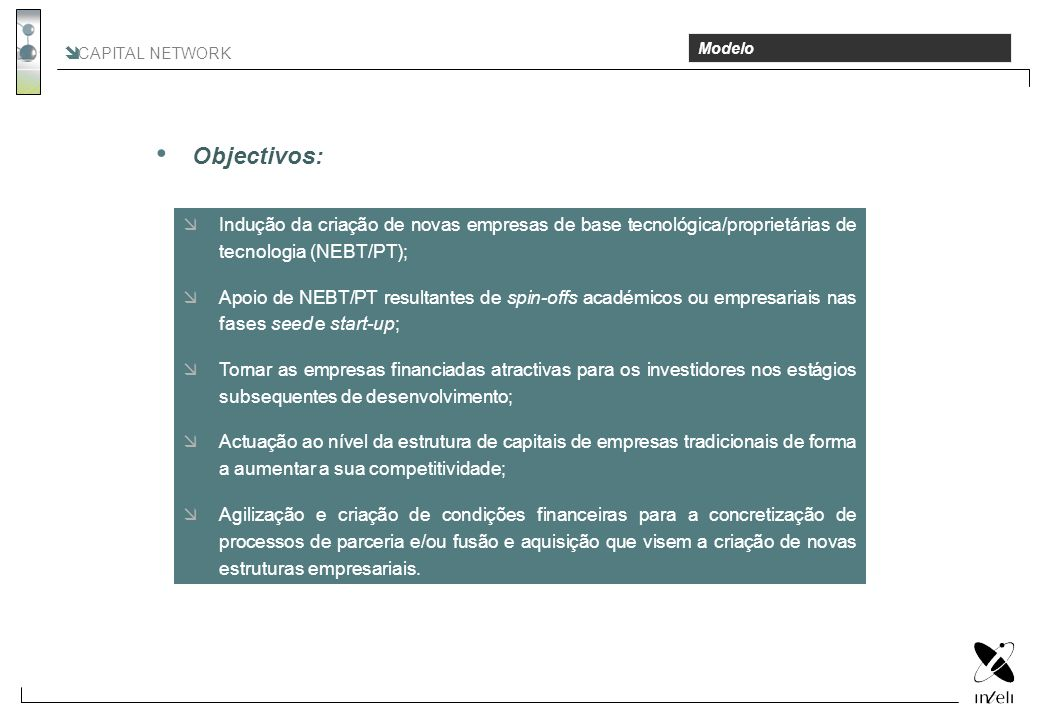 Objectivos: CAPITAL NETWORK