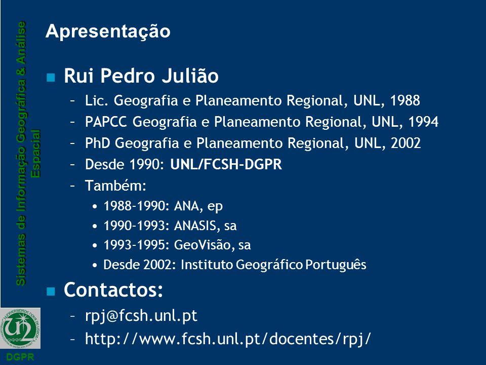 Rui Pedro Julião Contactos: Apresentação rpj@fcsh.unl.pt