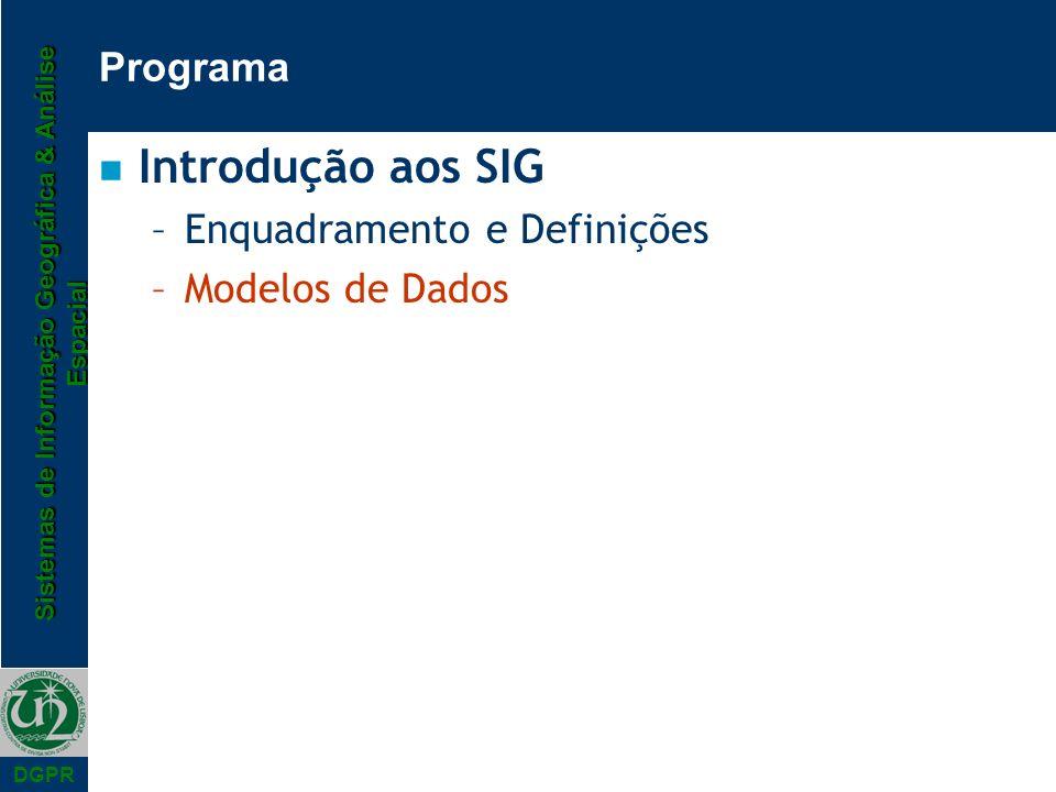 Introdução aos SIG Programa Enquadramento e Definições