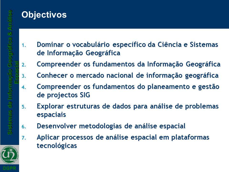 Objectivos Dominar o vocabulário específico da Ciência e Sistemas de Informação Geográfica. Compreender os fundamentos da Informação Geográfica.