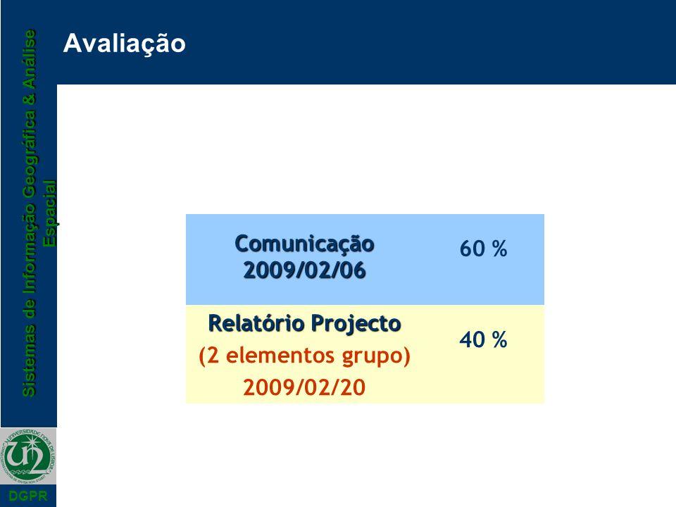 Avaliação Comunicação 2009/02/06 60 % Relatório Projecto