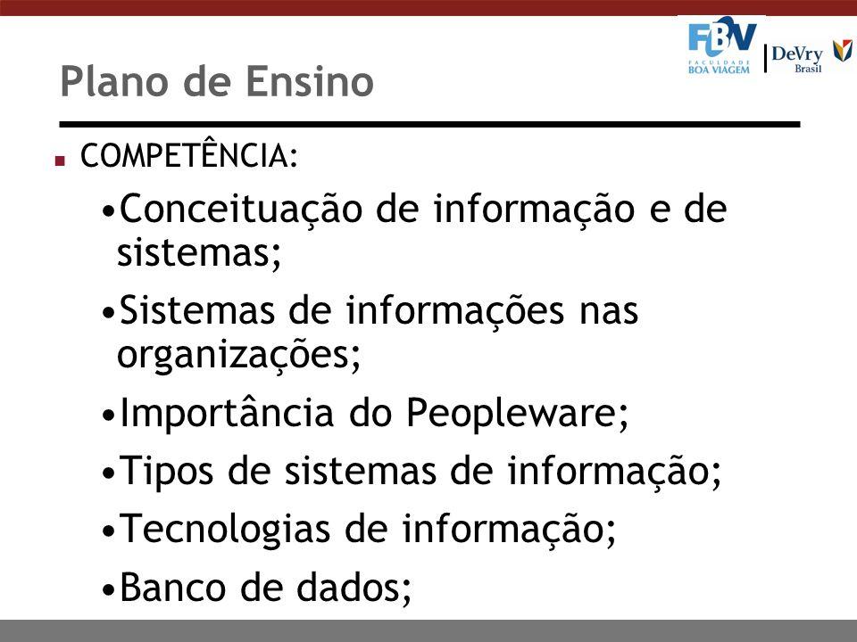 Plano de Ensino Conceituação de informação e de sistemas;