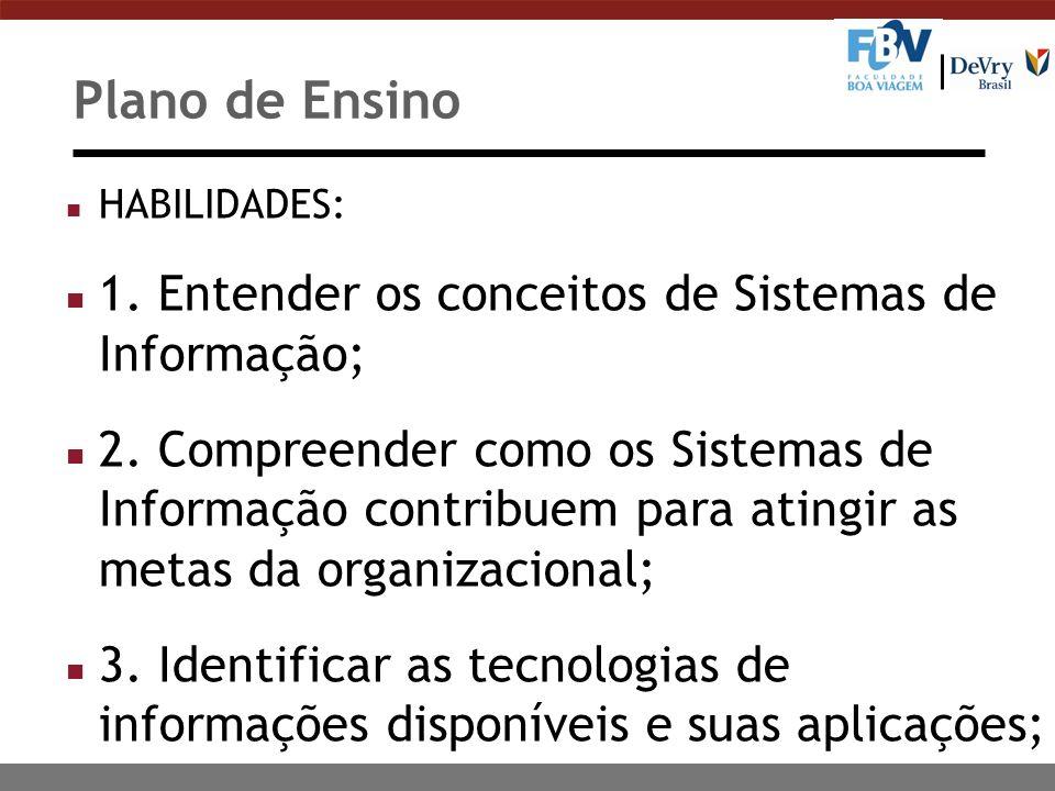 Plano de Ensino 1. Entender os conceitos de Sistemas de Informação;
