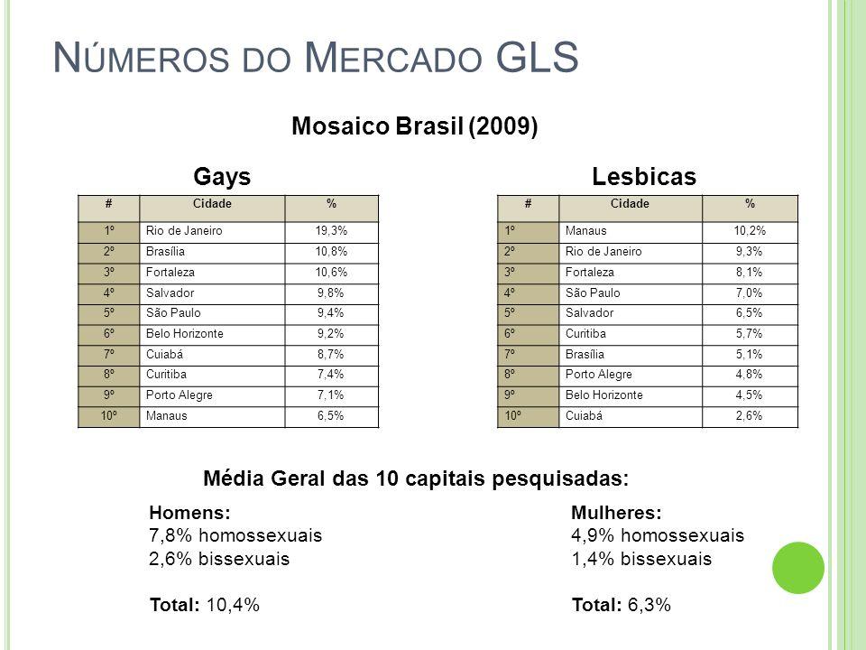 Números do Mercado GLS Mosaico Brasil (2009) Gays Lesbicas