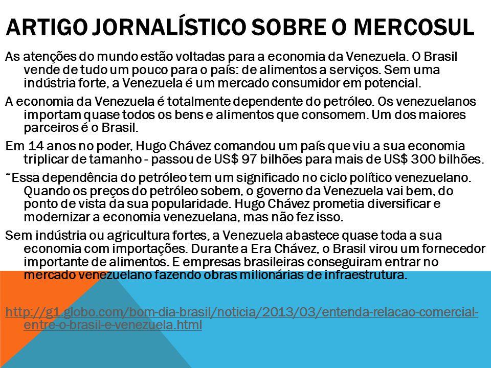Artigo Jornalístico sobre o Mercosul