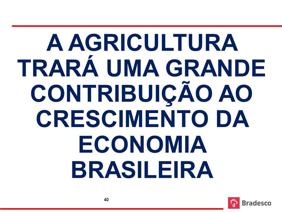 A AGRICULTURA TRARÁ UMA GRANDE CONTRIBUIÇÃO AO CRESCIMENTO DA ECONOMIA BRASILEIRA