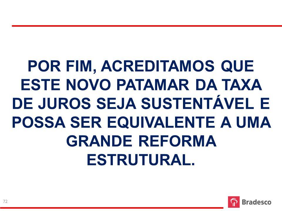 POR FIM, ACREDITAMOS QUE ESTE NOVO PATAMAR DA TAXA DE JUROS SEJA SUSTENTÁVEL E POSSA SER EQUIVALENTE A UMA GRANDE REFORMA ESTRUTURAL.