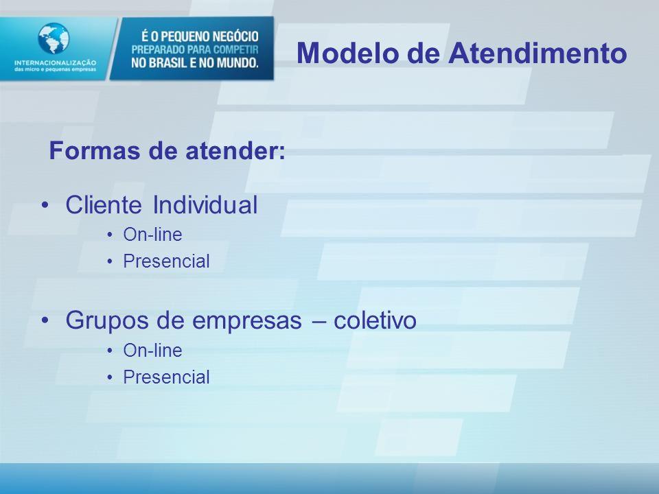 Modelo de Atendimento Formas de atender: Cliente Individual
