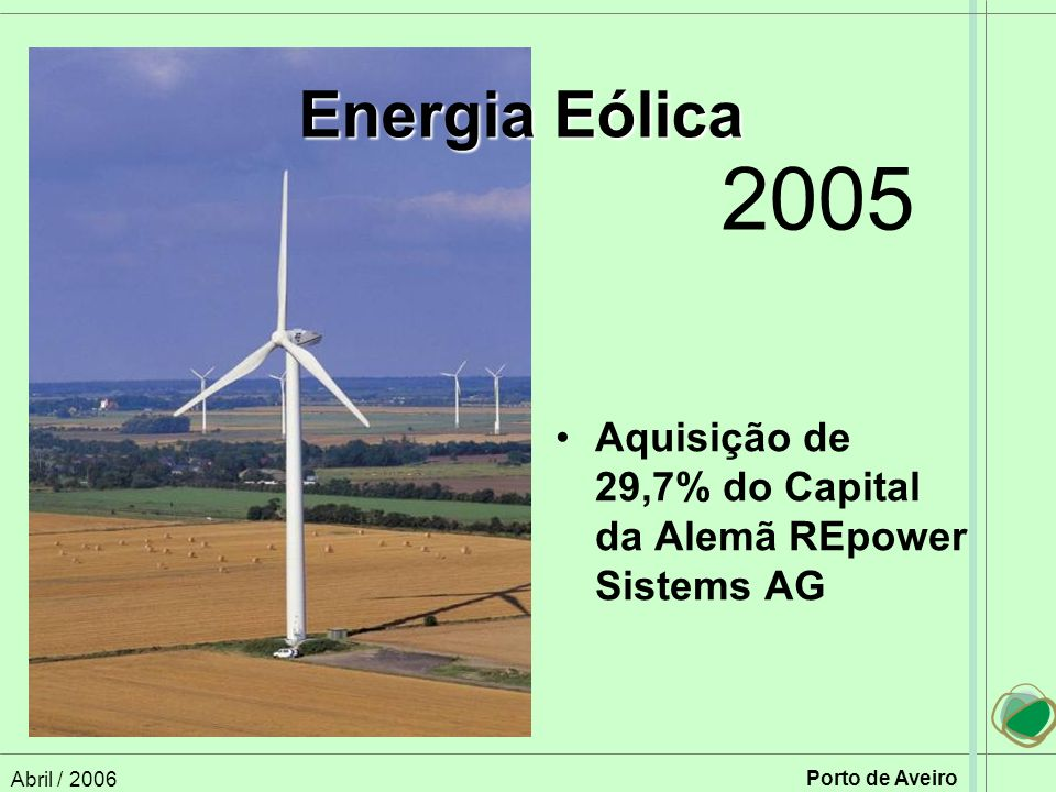 Energia Eólica 2005. Aquisição de 29,7% do Capital da Alemã REpower Sistems AG.