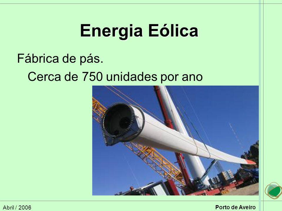 Energia Eólica Fábrica de pás. Cerca de 750 unidades por ano