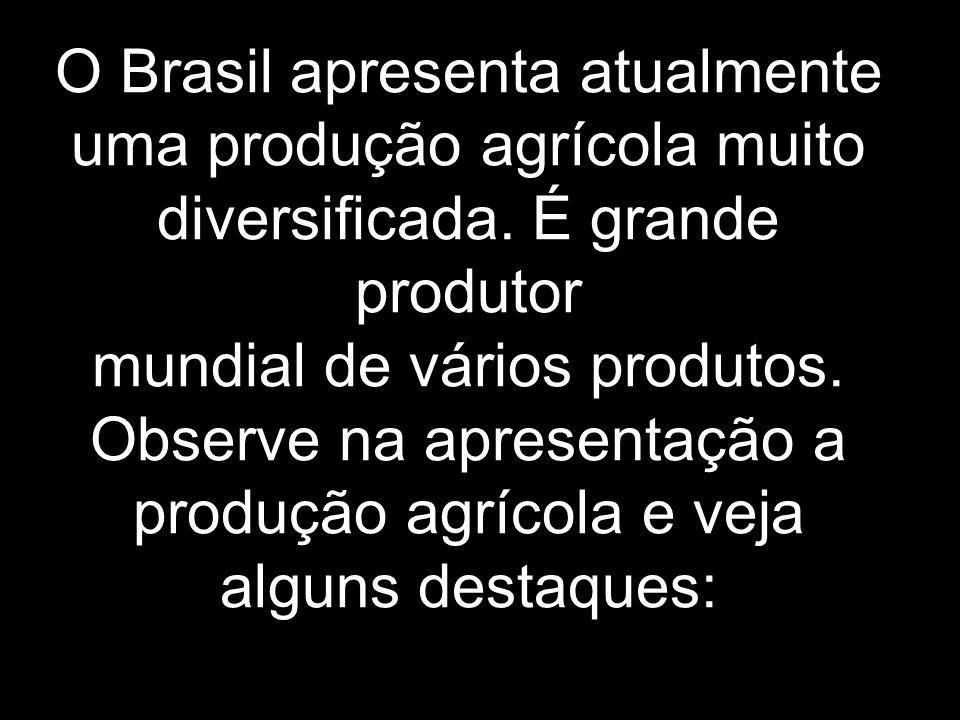 O Brasil apresenta atualmente uma produção agrícola muito