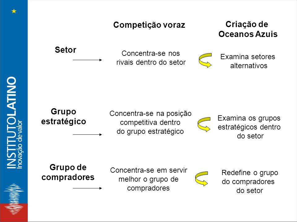 Criação de Oceanos Azuis Setor Grupo estratégico Grupo de compradores