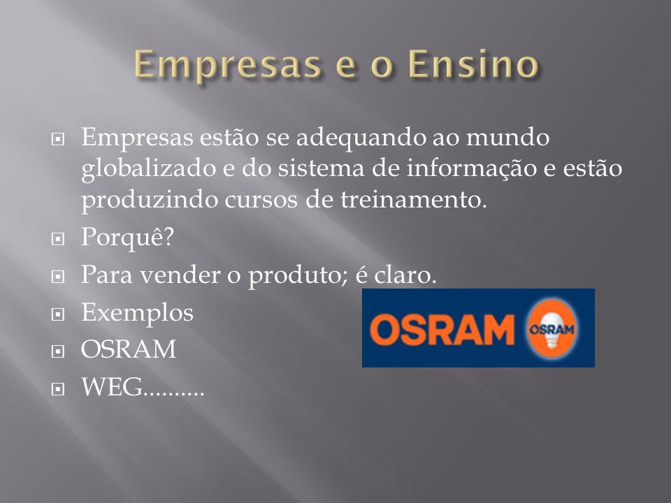 Empresas e o Ensino Empresas estão se adequando ao mundo globalizado e do sistema de informação e estão produzindo cursos de treinamento.