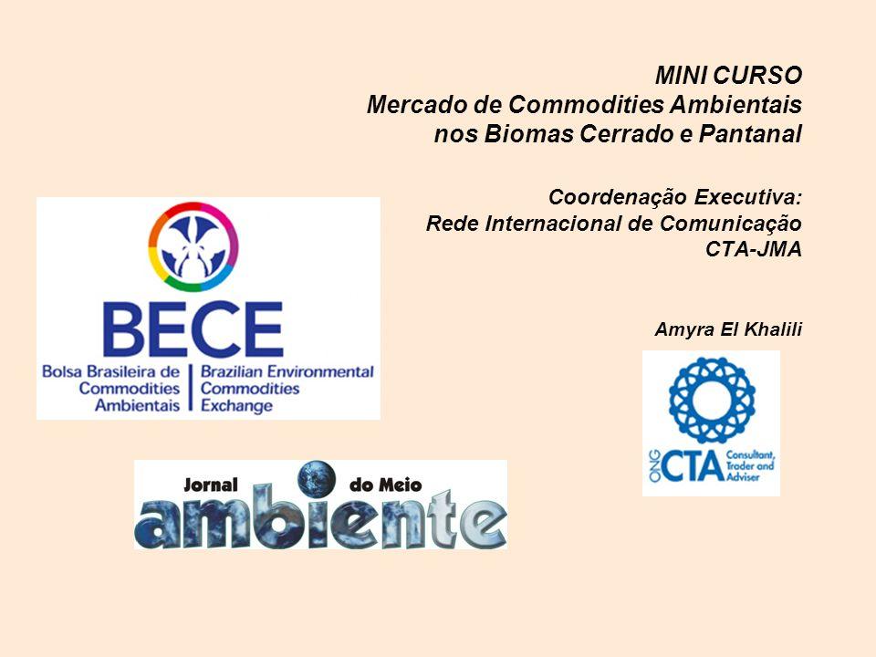 MINI CURSO Mercado de Commodities Ambientais nos Biomas Cerrado e Pantanal Coordenação Executiva: Rede Internacional de Comunicação CTA-JMA Amyra El Khalili