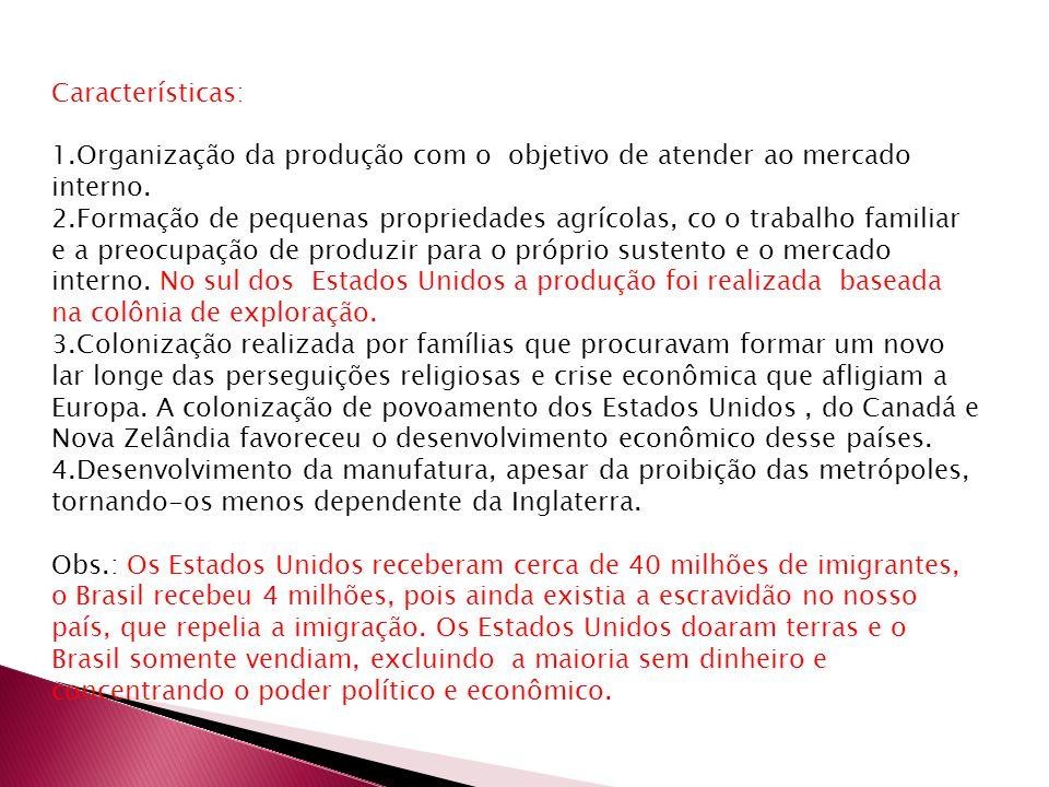 Características: Organização da produção com o objetivo de atender ao mercado interno.