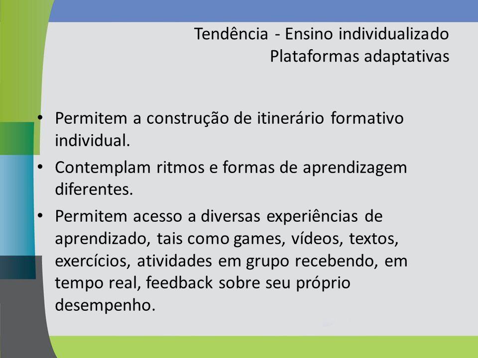 Tendência - Ensino individualizado Plataformas adaptativas