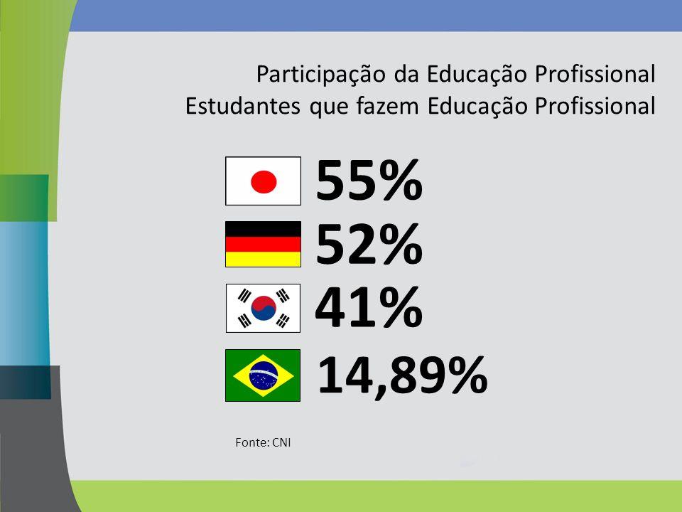55% 52% 41% 14,89% Participação da Educação Profissional