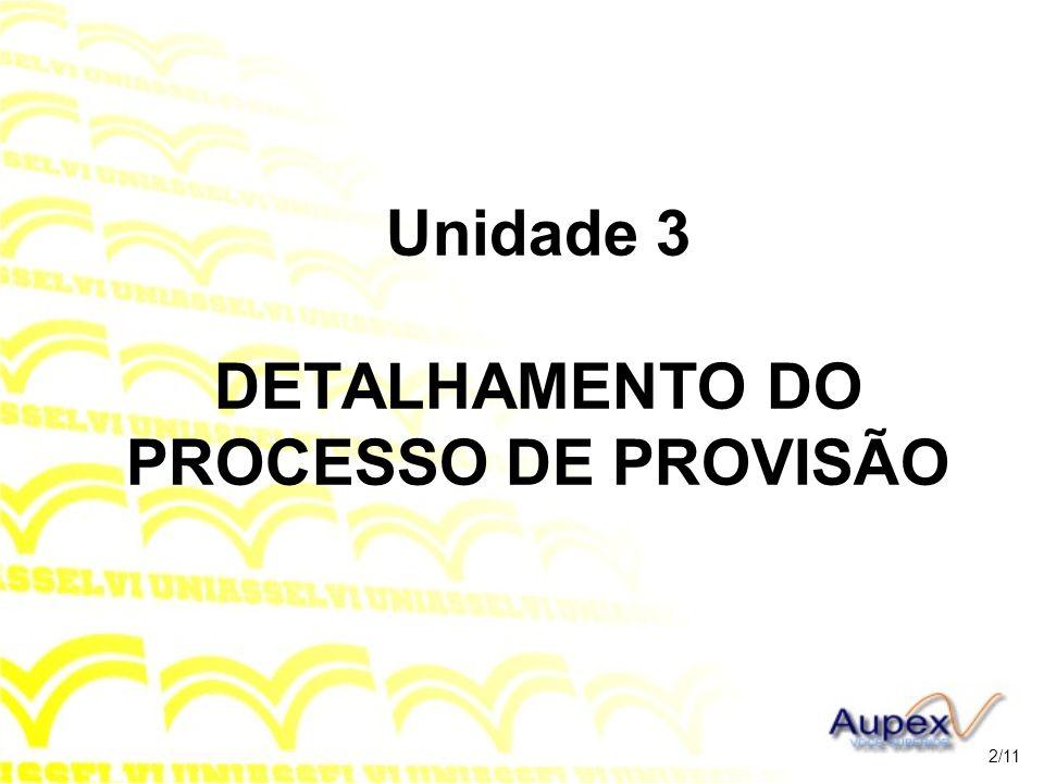 Unidade 3 DETALHAMENTO DO PROCESSO DE PROVISÃO
