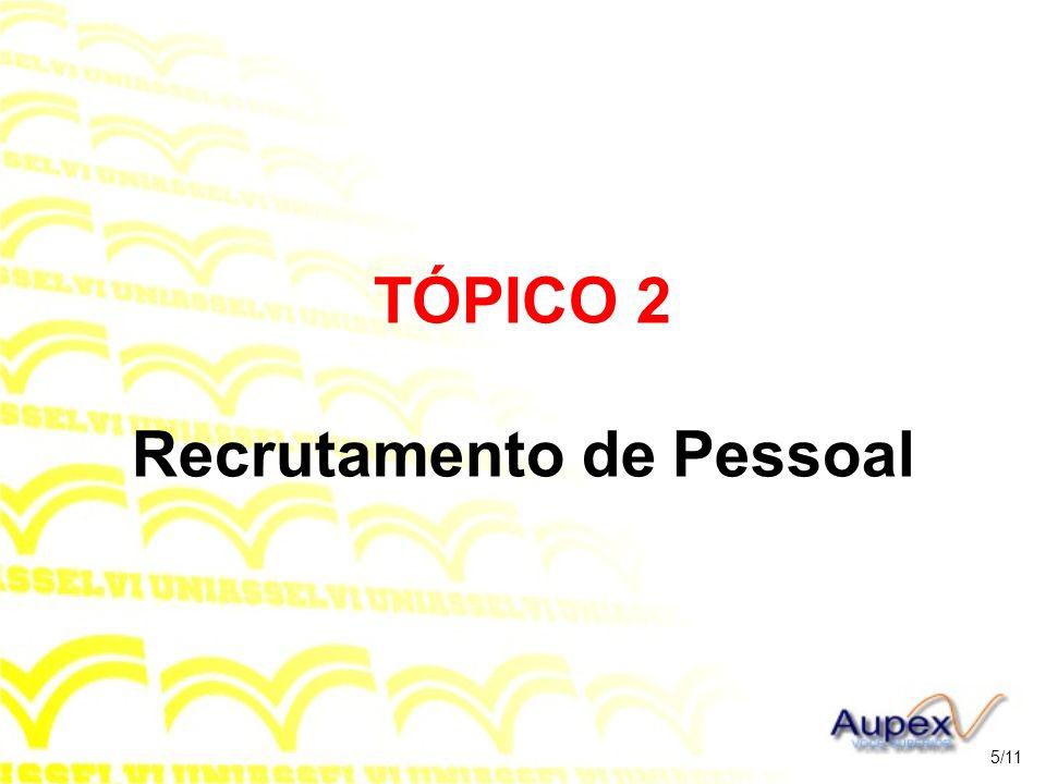 TÓPICO 2 Recrutamento de Pessoal