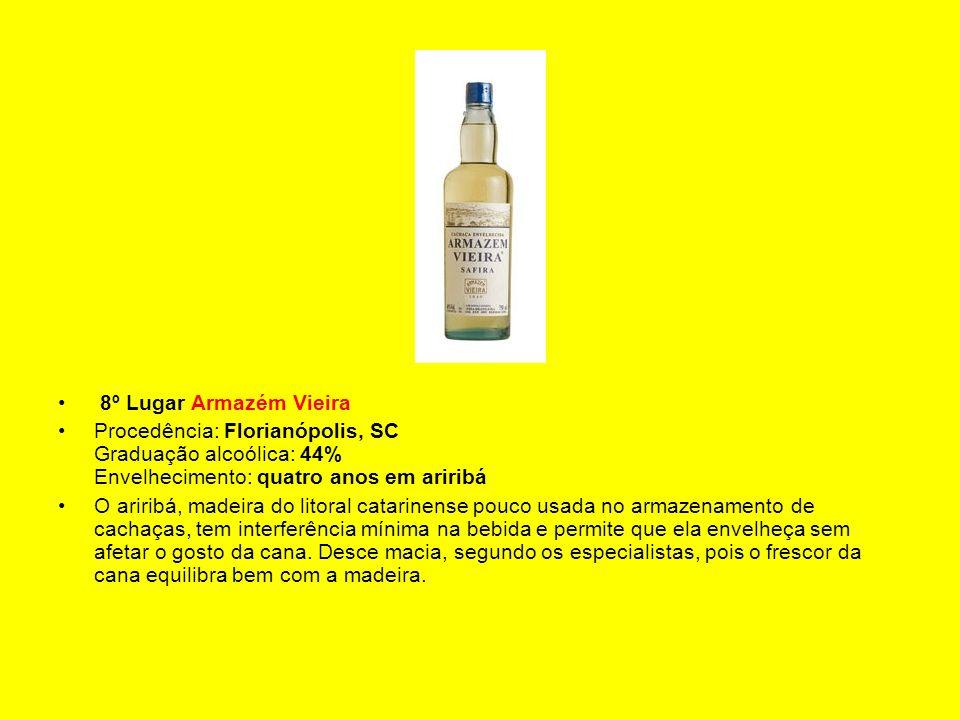 8º Lugar Armazém Vieira Procedência: Florianópolis, SC Graduação alcoólica: 44% Envelhecimento: quatro anos em ariribá.
