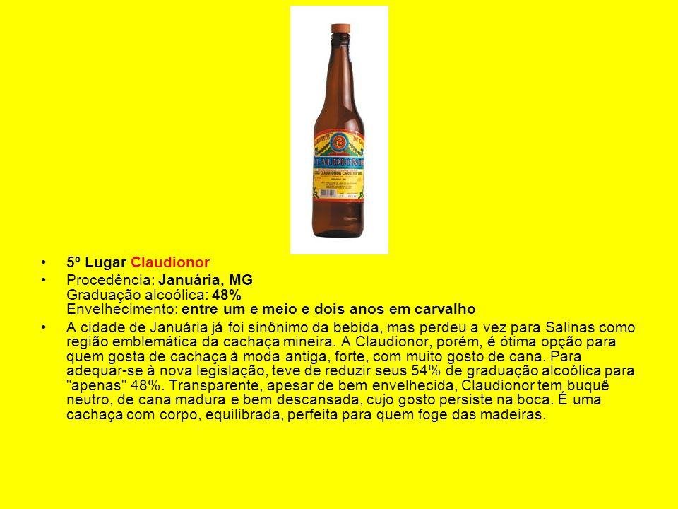 5º Lugar Claudionor Procedência: Januária, MG Graduação alcoólica: 48% Envelhecimento: entre um e meio e dois anos em carvalho.