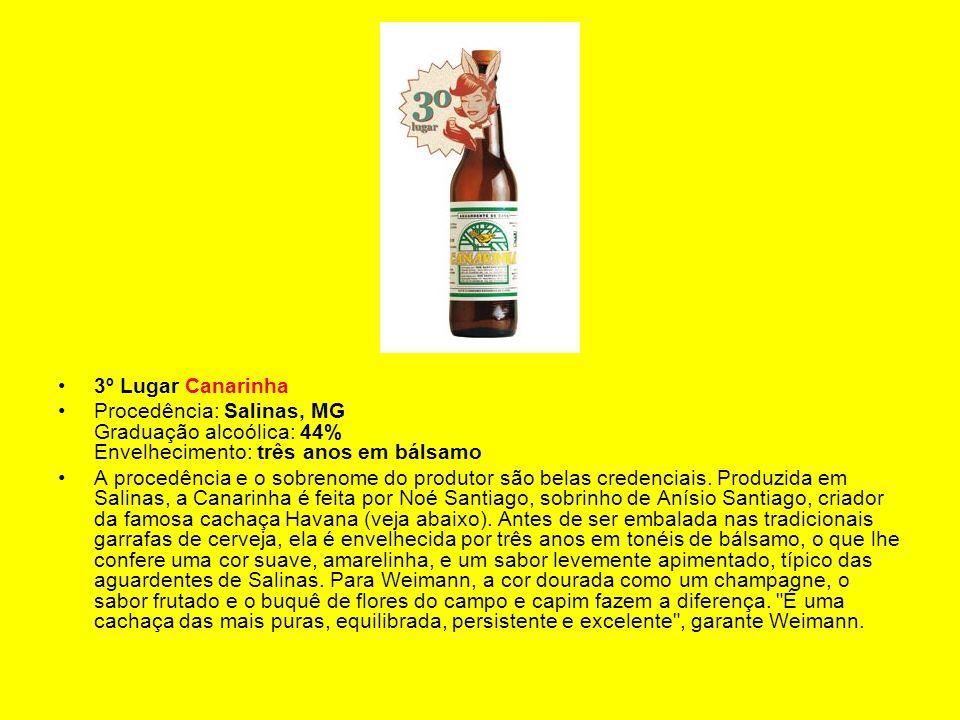 3º Lugar Canarinha Procedência: Salinas, MG Graduação alcoólica: 44% Envelhecimento: três anos em bálsamo.