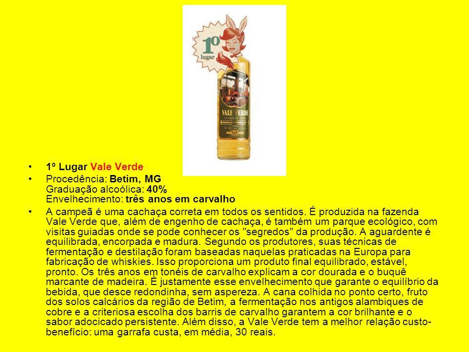 1º Lugar Vale Verde Procedência: Betim, MG Graduação alcoólica: 40% Envelhecimento: três anos em carvalho.
