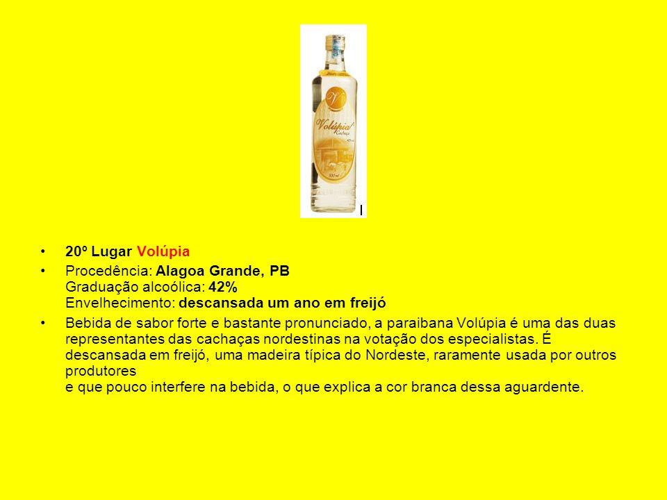 20º Lugar Volúpia Procedência: Alagoa Grande, PB Graduação alcoólica: 42% Envelhecimento: descansada um ano em freijó.