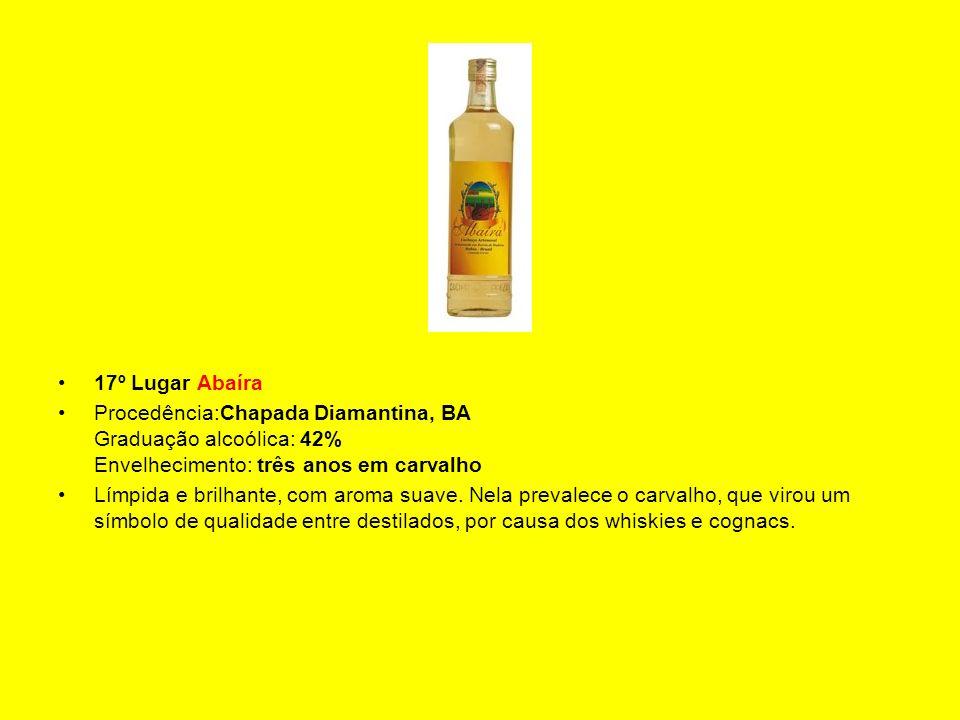 17º Lugar Abaíra Procedência:Chapada Diamantina, BA Graduação alcoólica: 42% Envelhecimento: três anos em carvalho.