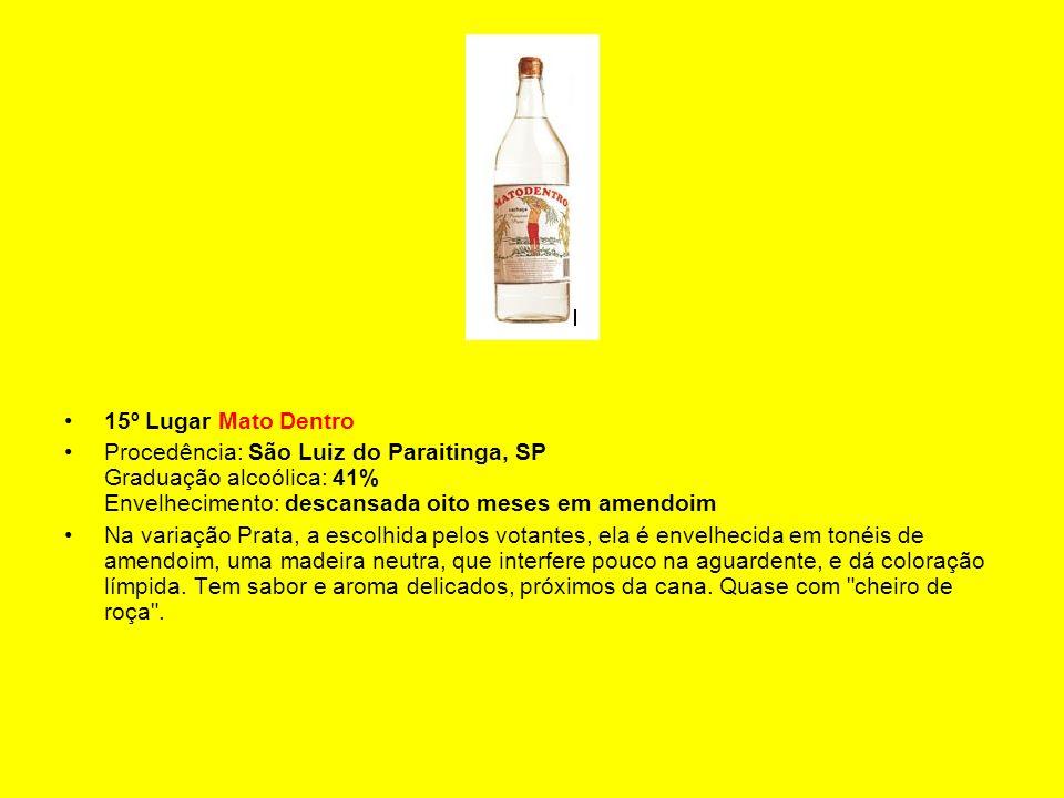 15º Lugar Mato Dentro Procedência: São Luiz do Paraitinga, SP Graduação alcoólica: 41% Envelhecimento: descansada oito meses em amendoim.
