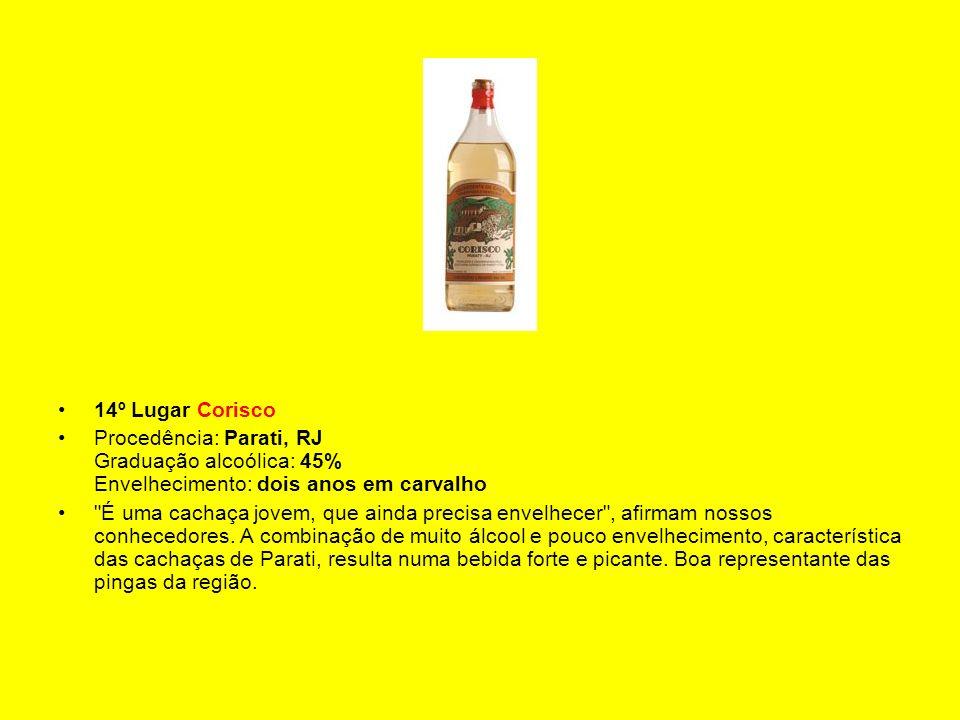 14º Lugar Corisco Procedência: Parati, RJ Graduação alcoólica: 45% Envelhecimento: dois anos em carvalho.