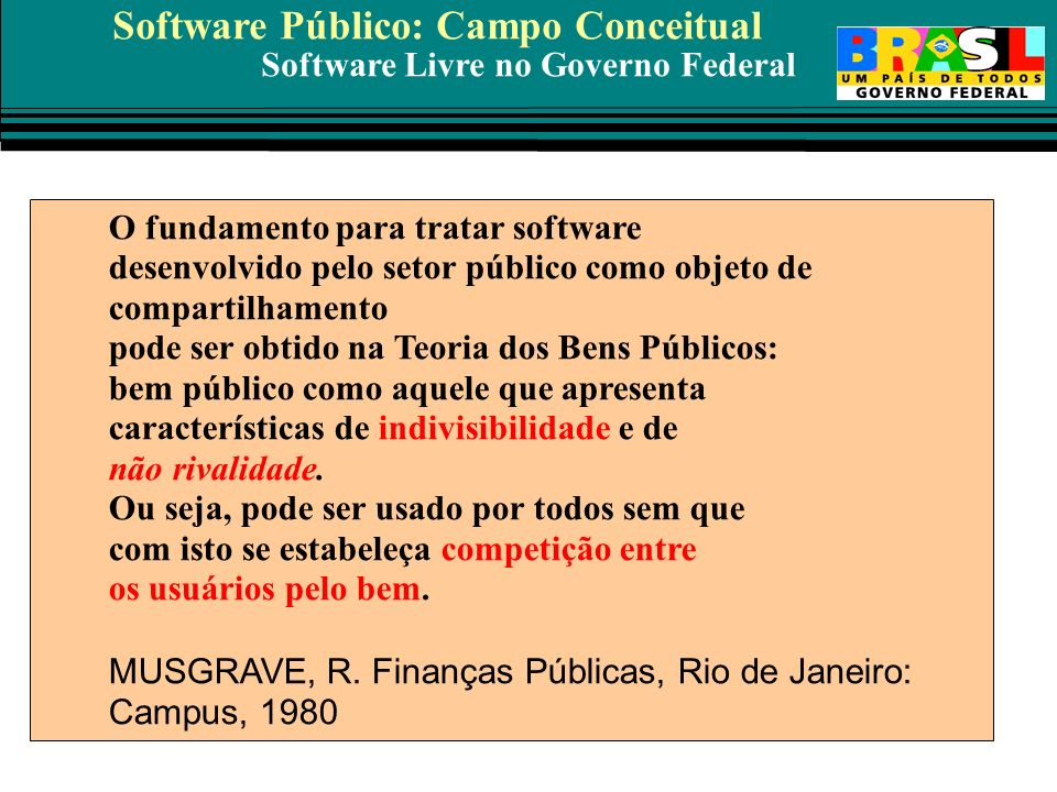 Software Público: Campo Conceitual
