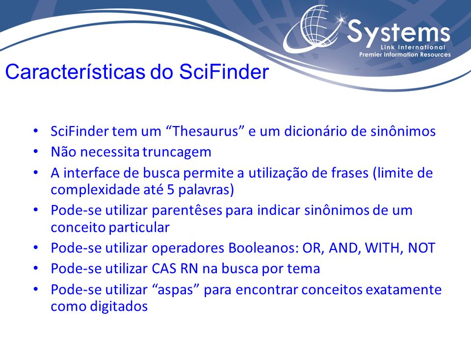 Características do SciFinder