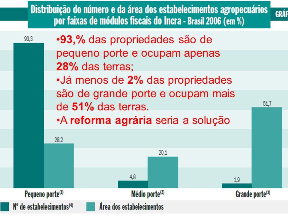 93,% das propriedades são de pequeno porte e ocupam apenas 28% das terras;