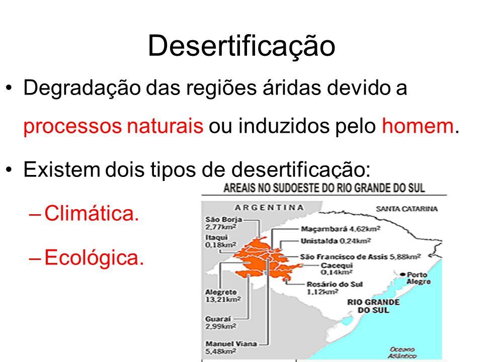 Desertificação Degradação das regiões áridas devido a processos naturais ou induzidos pelo homem. Existem dois tipos de desertificação: