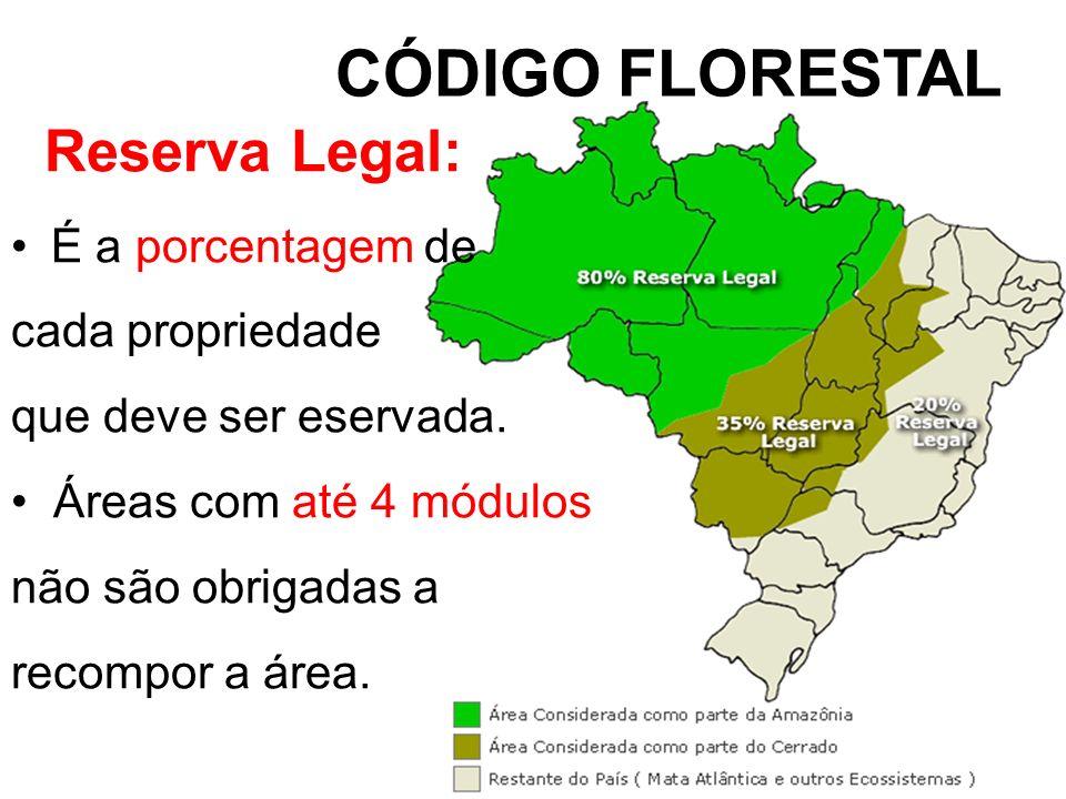 CÓDIGO FLORESTAL Reserva Legal: É a porcentagem de cada propriedade